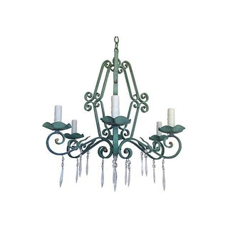 French Verdigris Iron Chandelier
