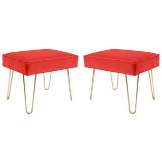 Petite Brass Hairpin Ottomans in Coral Velvet by Montage - Pair