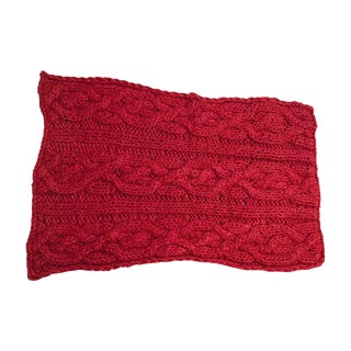 Chunky Rust Red Woven Throw