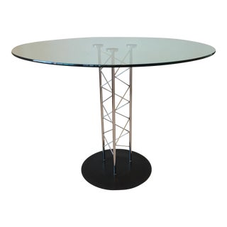 Modern Italian Wire & Glass Pedestal Dining Table