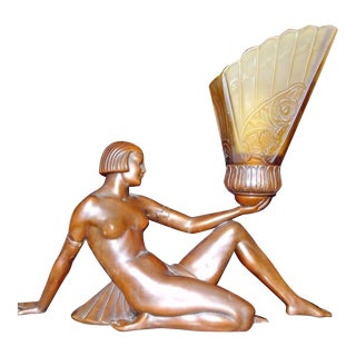 Art Deco Nude Lady Lamp With Glass Shade