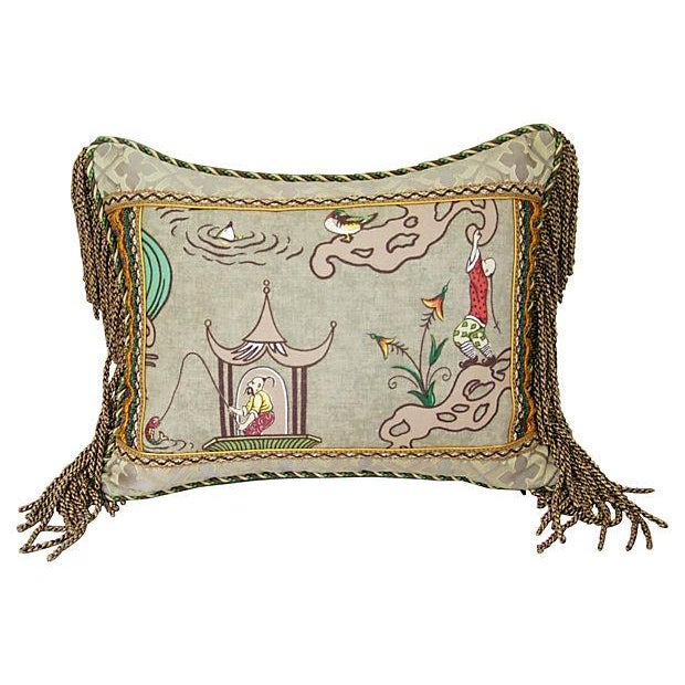 Italian Scalamandre Ping Chinoiserie Pillow - Image 1 of 4