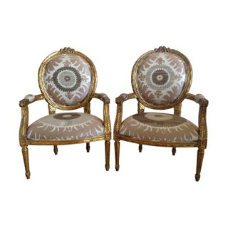 Gilt Louis XVI Chairs in Donghia Suzani - A Pair
