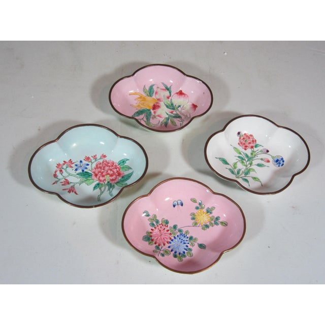 Floral Chinese Enamel Bowls - Set of 4 - Image 3 of 9