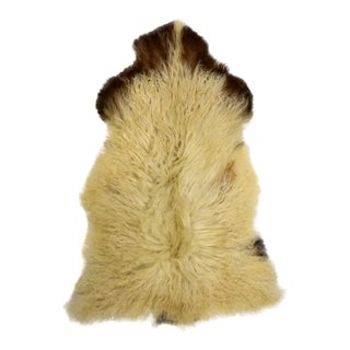 "Genuine Handmade Beige Brown Wool Sheepskin Rug Pelt, Sheepskin Throw - 2'7"" X 4'"