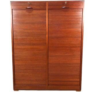 Danish Modern Double Tambour Storage Collectors Cabinet