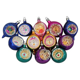European Fancy Indent Christmas Ornaments w/Box - Set of 12