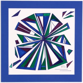 Blue Radiating Triangles Drawing by D. Schiller