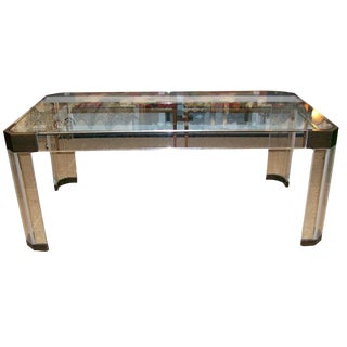 Charles Hollis Jones Thick Lucite and Bronze Dining Table