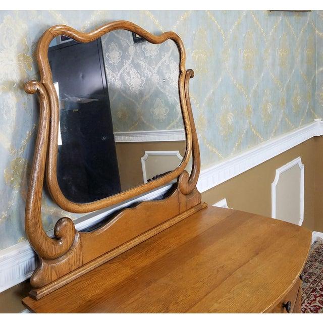 Antique Victorian Quartered Oak Dresser & Mirror - Image 7 of 9