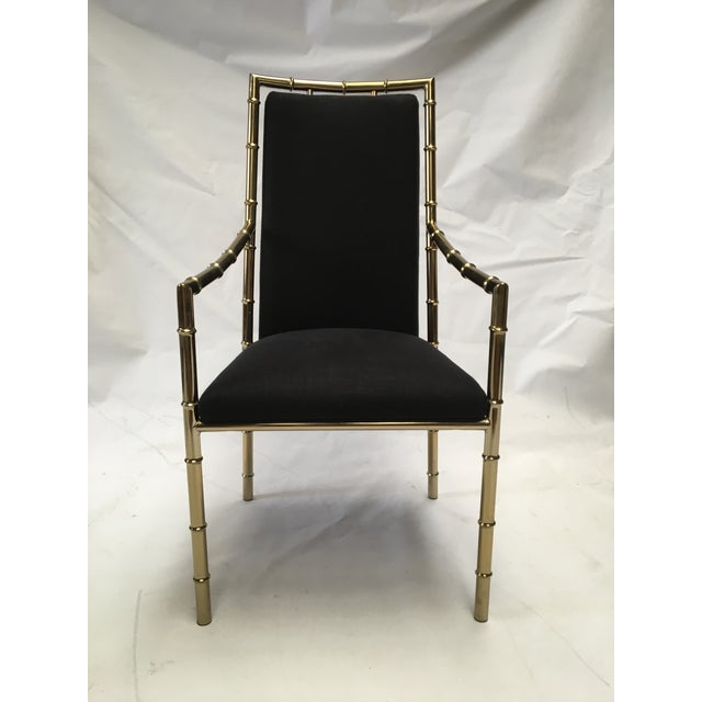 Image of Brass Bamboo Dining Chairs in Black Linen - S/6