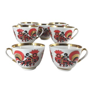 Lomonosov Porcelain Tea Cups Spring Red Cockerels - Set of 7