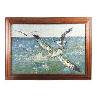 Modernist Sea Gulls Painting