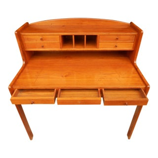 Danish Modern Teak Office Desk With Secret Compartment