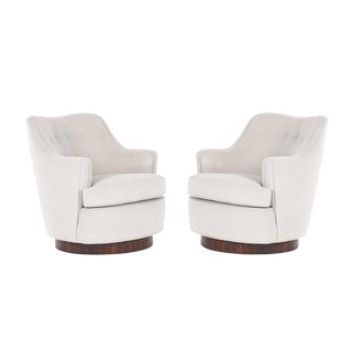 Pair of Edward Wormley Swivel Lounge Chairs
