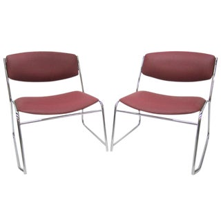 French Mid-Century Slipper Chairs, Pair