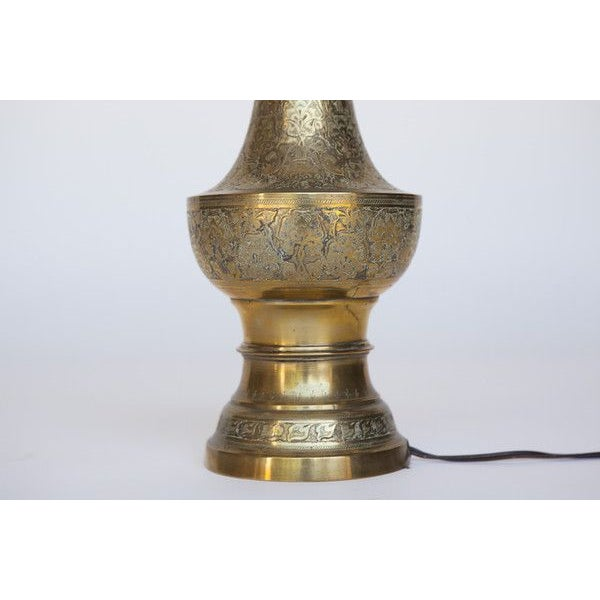 Image of Floral Etched Brass Lamp
