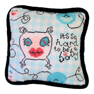 Printed Needlepoint Nursery Pillow, Handcrafted