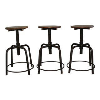 Early 20th Century French Industrial Stools - S/3