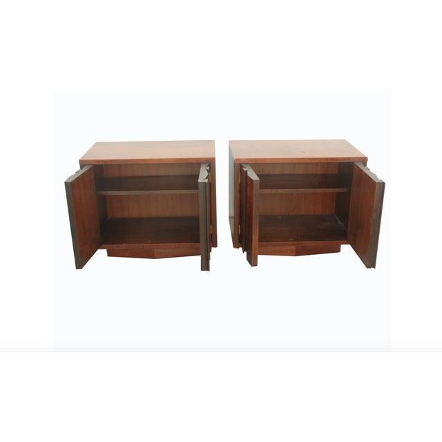 lane brutalist prism nightstands set of 2 chairish. Black Bedroom Furniture Sets. Home Design Ideas