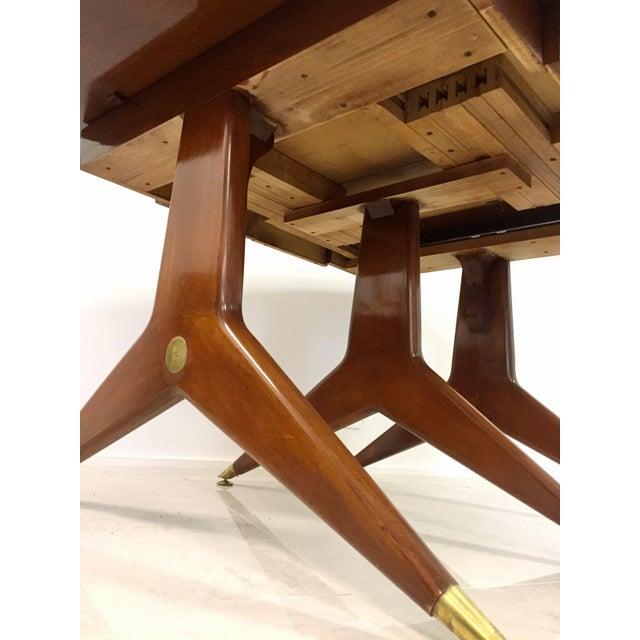 Gio Ponti Attr. Brass & Walnut Dining Table - Image 11 of 11