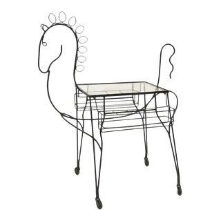 Figural Horse Rolling Bar Cart