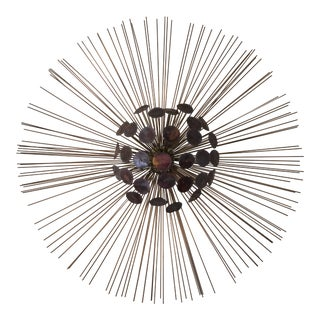 Mid-Century Starburst Raindrop Brutalist Metal Wall Sculpture
