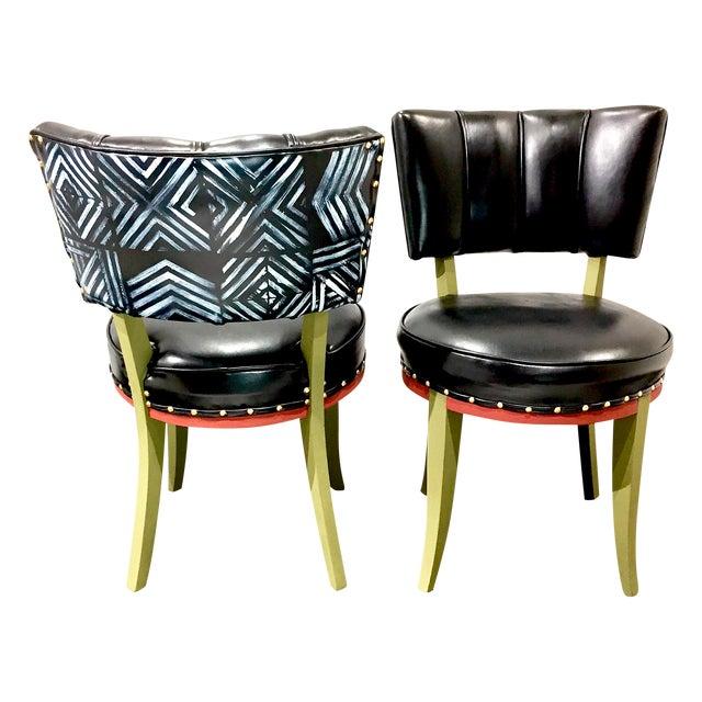 Vintage Tribal Vinyl Side Chairs - Pair - Image 1 of 7