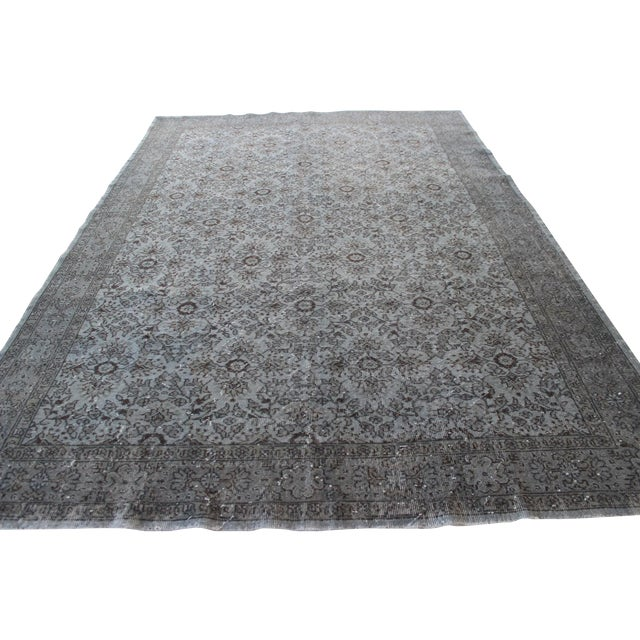 """Vintage Turkish Over-Dyed Gray Rug - 10' x 7'3"""" - Image 1 of 8"""