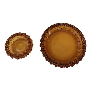 Fenton Amber Ashtrays - A Pair