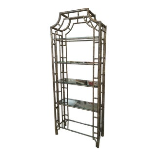 60s Vintage Hollywood Regency Faux Bamboo Bronze Patina Etagere