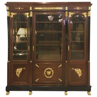 19th C. Empire Mahogany & Bronze Display Case