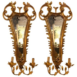 19th Century French Gilt Wood Mirrored Back Wall Sconces - A Pair