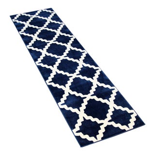 Blue Trellis Patterned Rug - 2'8''x10'