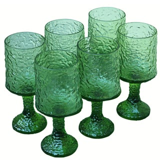 Vintage 1970s Green Lenox Wine Glasses - Set of 6