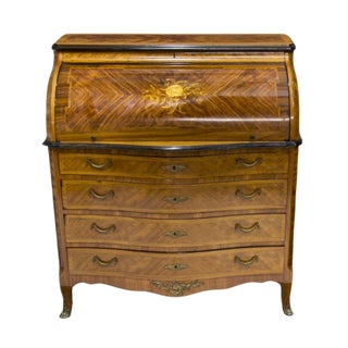 French Antique Mahogany Desk With Marquetry Inlaid Design