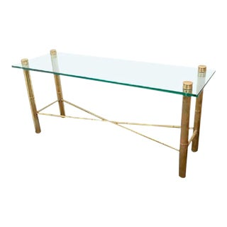 Circa 1970 Brass Faux Bamboo Console Table