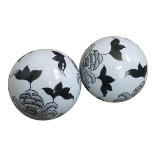 Black & White China Spheres - A Pair