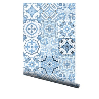 Portuguese Sea Foam Tiles Pre-Pasted Wallpaper