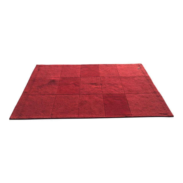 "Red Hand-Tufted Rug - 4'8"" x 6'8"" - Image 1 of 8"
