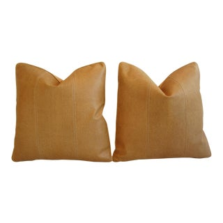 Golden Italian Leather & Linen Pillows - a Pair