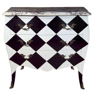 French Louis XV Painted Marble Top Commode