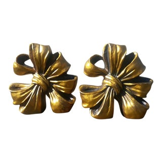 Vintage Gilded Plaster Bow Bookends - A Pair