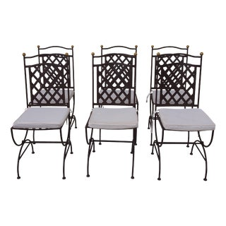 French Parcel Iron Garden Chairs - Set of 4