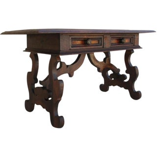 Spanish Revival Antique Two Drawer Coffee Table Bench