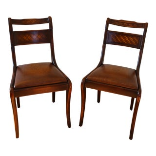Embossed Wooden Side Chairs - A Pair