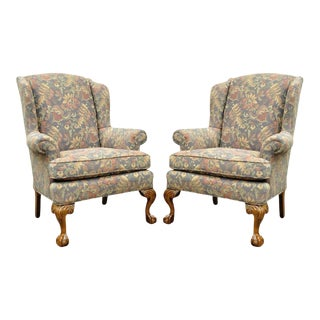 Vintage American Chippendale Wingback Chairs - A Pair