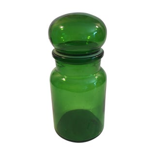 Vintage Green Glass Bubble Top Apothecary Jar