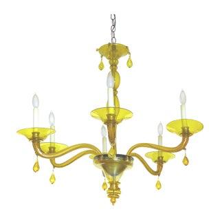 Murano Glass Yellow 6 Light Chandelier