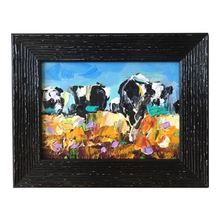 """Vermont """"Cows in the Field"""" Abstract Acrylic Painting"""
